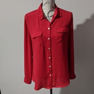 Ann Taylor Loft Red Blouses Size Medium
